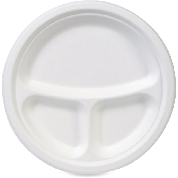 Dixie 3-Compartment Paper Plates by GP Pro - 10  Diameter Plate - Molded Fiber - Disposable - Microwave Safe - White - 50 Piece(s) / Pack