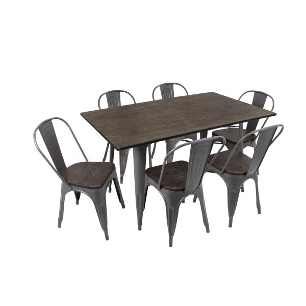 Lumisource Oregon Table Set, 6 Chairs, Antique/Espresso
