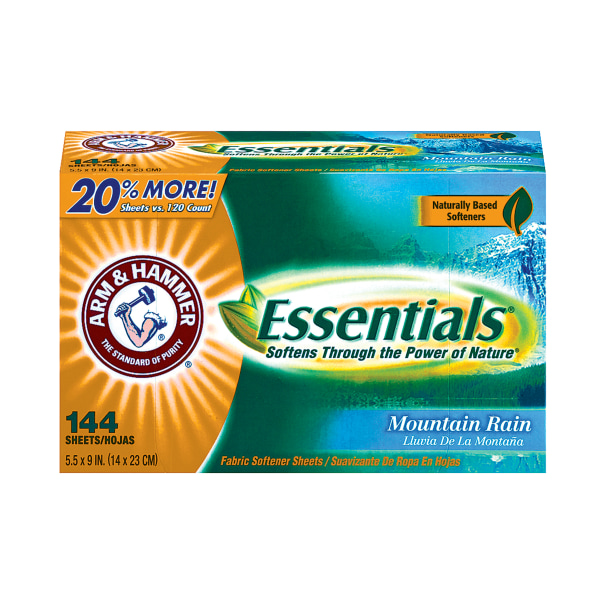Arm & Hammer Essentials Dryer Sheets, Mountain Rain Scent, 144 Sheets Per Box, Case Of 6 Boxes