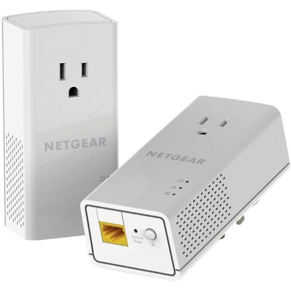 NETGEAR Powerline 1200 + Extra Outlet, PLP1200 - 2 - 1 x Network (RJ-45) - 1200 Mbit/s Powerline - 5382 Sq. ft. Area Coverage - HomePlug AV2 - Gigabit