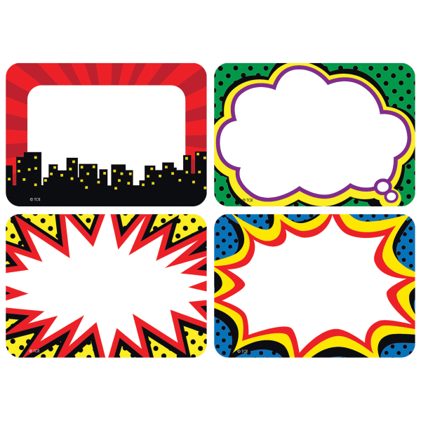 Teacher Created Resources Superhero Name Tags, 3 1/2  x 2 1/2 , Multicolor, Pack Of 180