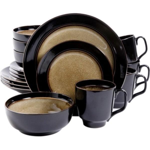 Gibson Bella Galleria Taupe 16 pc. DW Set - Dinner Plate, Dessert Plate, Soup Bowl, Mug - Stoneware - Dishwasher Safe - Microwave Safe - Taupe - Glaze