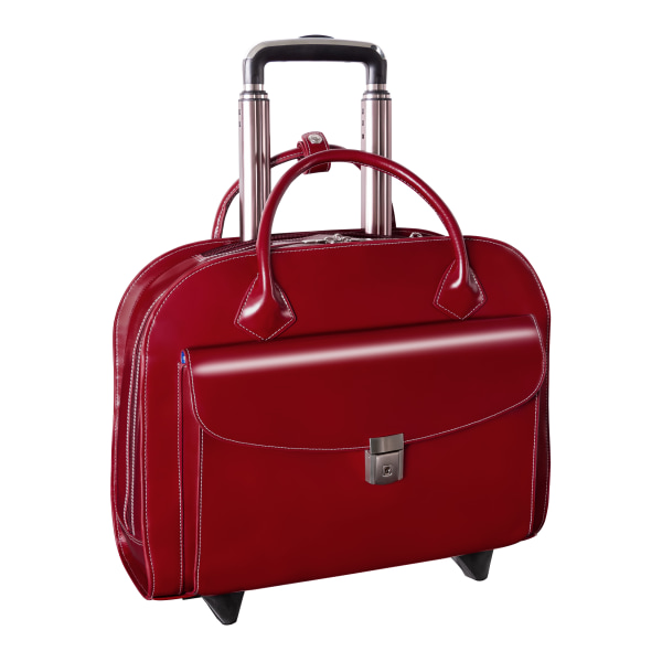 McKleinUSA Granville Leather Wheeled Ladies' Briefcase For 15.4  Laptops, Red