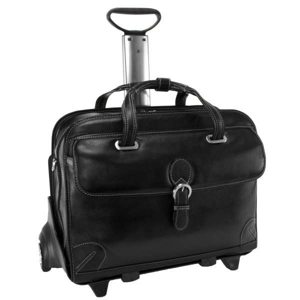 Siamod Carugetto Leather Laptop Case For 17  Laptops, Black