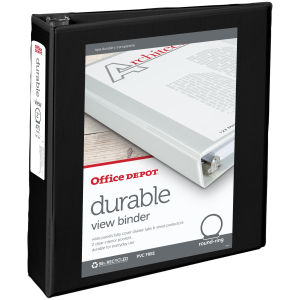 """Office Depot Brand Durable View 2"""" Round-Ring Binder"""