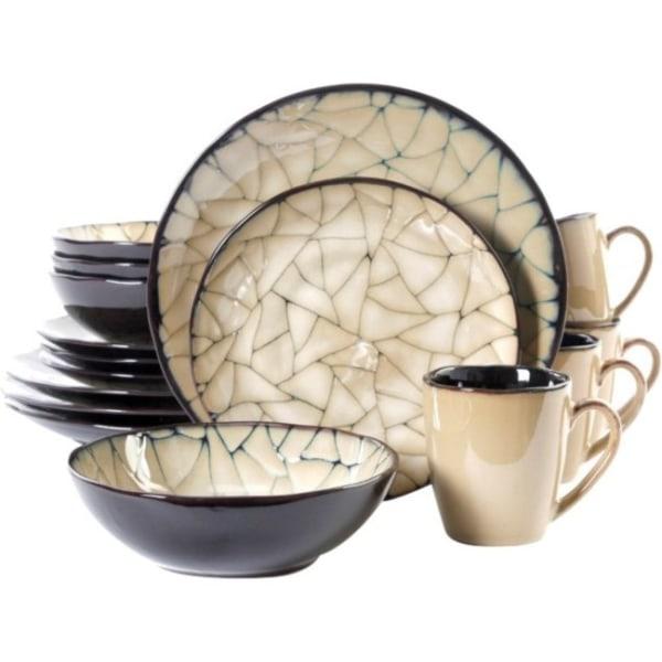 Gibson Zambezi 16 Pc. DW Set - Dinner Plate, Dessert Plate, Soup Bowl, Mug - Stoneware - Dishwasher Safe - Microwave Safe - Glazed
