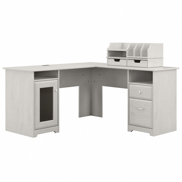 Bush Furniture Cabot 60 W L-Shaped Computer Desk With Desktop Organizers, Linen White Oak, Standard Delivery