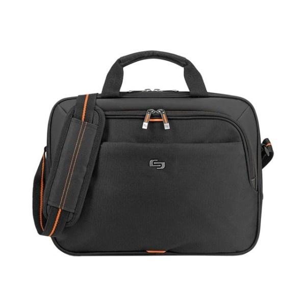 Solo Ace Slim Briefcase For 15.6  Laptops, Black/Orange
