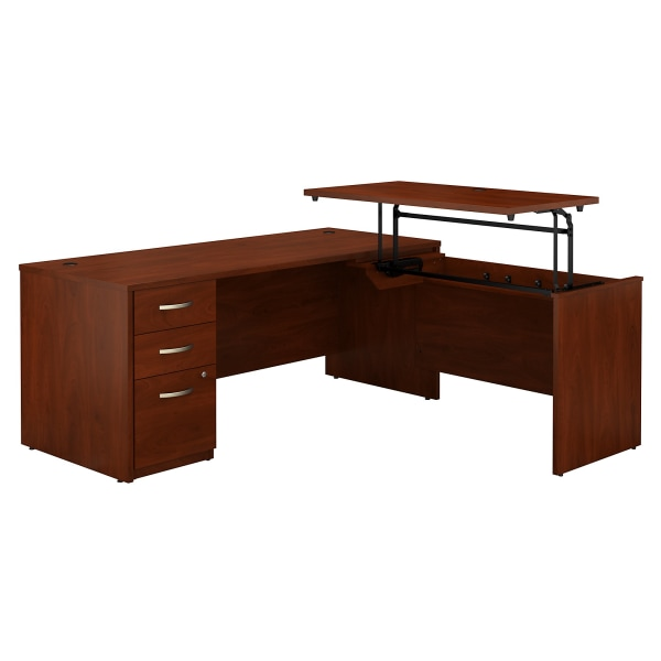 Bush Business Furniture Components Elite 72 W 3 Position Sit to Stand L Shaped Desk with 3 Drawer File Cabinet, Hansen Cherry, Standard Delivery