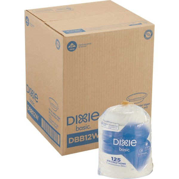 Dixie Basic Lightweight Disposable Paper Bowls by GP Pro - 125 / Pack - 12 fl oz Bowl - Paper Bowl - Microwave Safe - 1000 Piece(s) / Carton