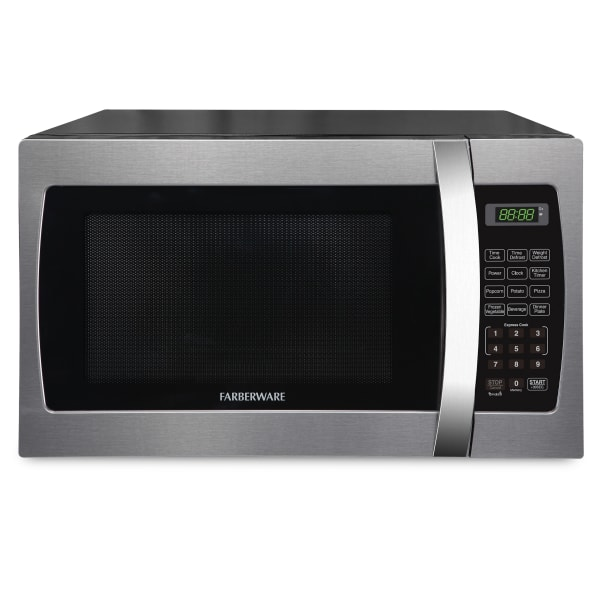 Farberware Professional 1.3 Cu Ft Countertop Microwave Oven, Stainless Steel/Black