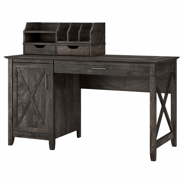 Bush Furniture Key West 54 W Computer Desk With Storage And Desktop Organizers, Dark Gray Hickory, Standard Delivery