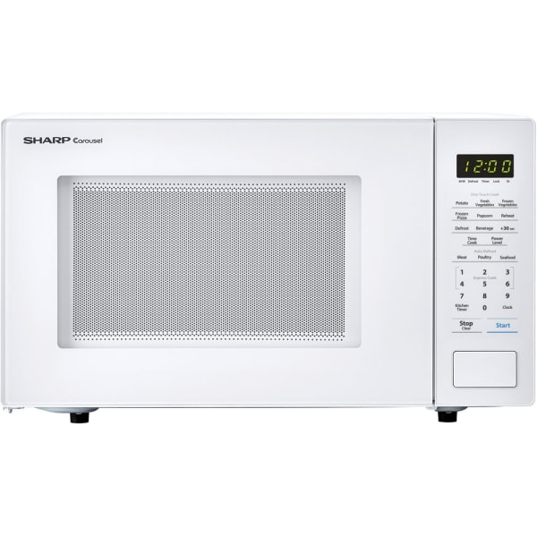 Sharp Carousel 1.1 Cu Ft Countertop Microwave Oven, White
