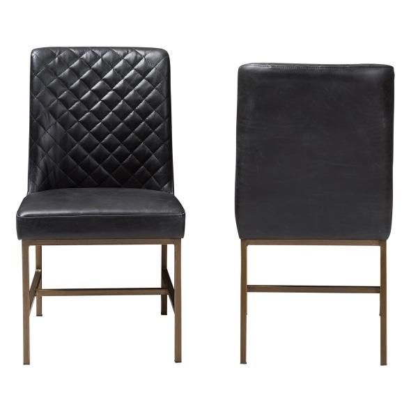 Baxton Studio Mael Chairs, Black/Bronze, Set Of 2