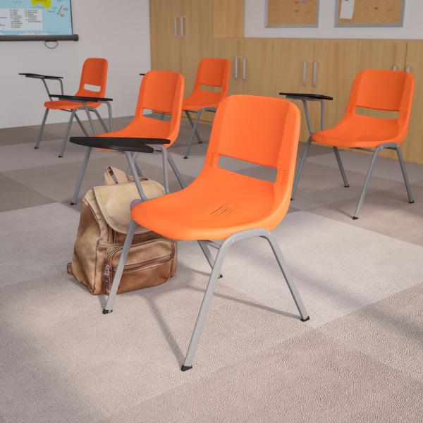 Flash Furniture Ergonomic Shell Chairs, Orange, Set Of 5 Chairs