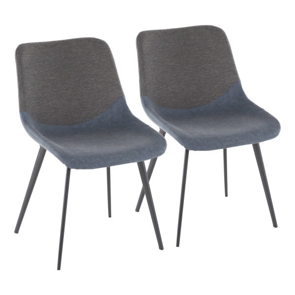 LumiSource Outlaw 2-Tone Chairs, Blue/Gray, Set Of 2 Chairs