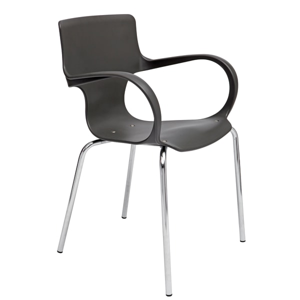 Alba Sofia Reception Chairs With Armrests, Black/Chrome, Pack Of 4