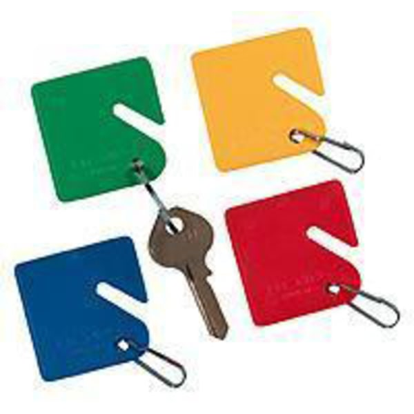 STEELMASTER Slotted Rack-Style Snap-Hook Key Tags, Assorted Colors, Pack Of 20
