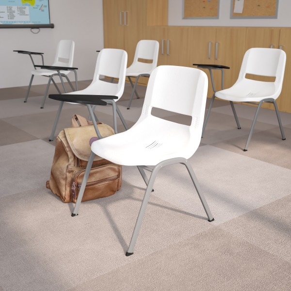 Flash Furniture Ergonomic Shell Chairs, White, Set Of 5 Chairs