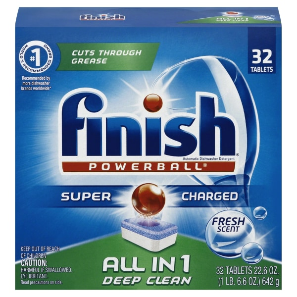 Finish Powerball Dishwasher Detergent Tabs, Fresh Scent, Box Of 32 Tabs