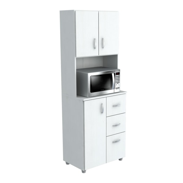 Inval Storage Cabinet With Microwave Stand, 4 Shelves, 66 H x 24 W x 15 D, Laricina White