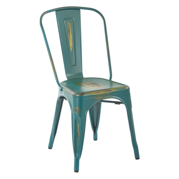 Office Star Bristow Armless Chair, Antique Turquoise, Set Of 4 Chairs