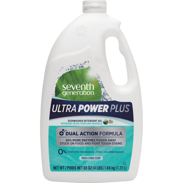 Seventh Generation Ultra Power Plus Dishwasher Detergent - Gel - 65 fl oz (2 quart) - Fresh Scent - 6 / Carton