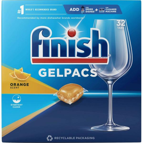 Finish Dishwasher Gel Packs - 1.30 oz (0.08 lb) - Orange Scent - 32 / Box - Orange