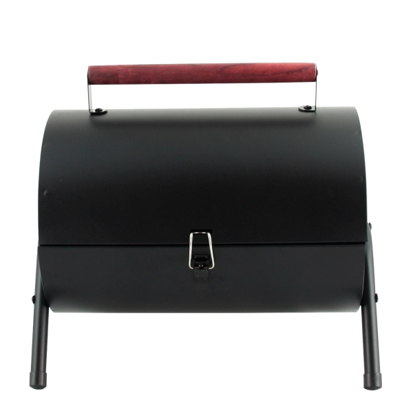 Gibson Home Delwin Carbon Steel Portable Barrel Charcoal BBQ Grill, 15 H x 14 W x 11 D, Black/Burgundy