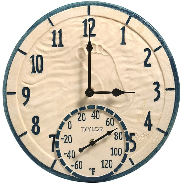 Taylor 14  Decorative Poly Resin Clock with Thermometer, By the Sea - Analog - Quartz - CaseThermometer