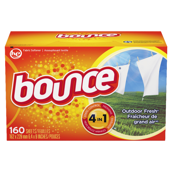 Bounce Dryer Sheets, Outdoor Fresh Scent, Orange, 160 Sheets Per Box, Carton Of 6 Boxes