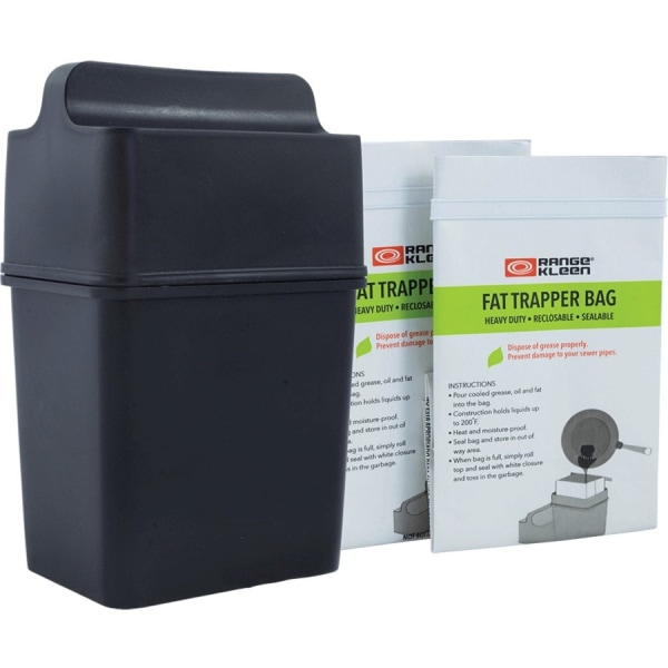 Range Kleen 600-02 Trap the Grease: Fat Trapper System with 2 Grease Disposable Bags - 22 fl oz Capacity - Recyclable, Dishwasher Safe, Heavy Duty - 8