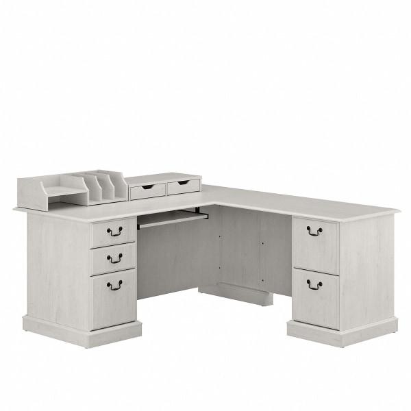 Bush Furniture Saratoga 66 W L-Shaped Computer Desk With Drawers And Desktop Organizers, Linen White Oak, Standard Delivery