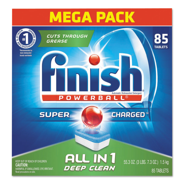 Finish Powerball Dishwasher Tabs, Fresh Scent, 85 Tabs Per Box, Case Of 4 Boxes