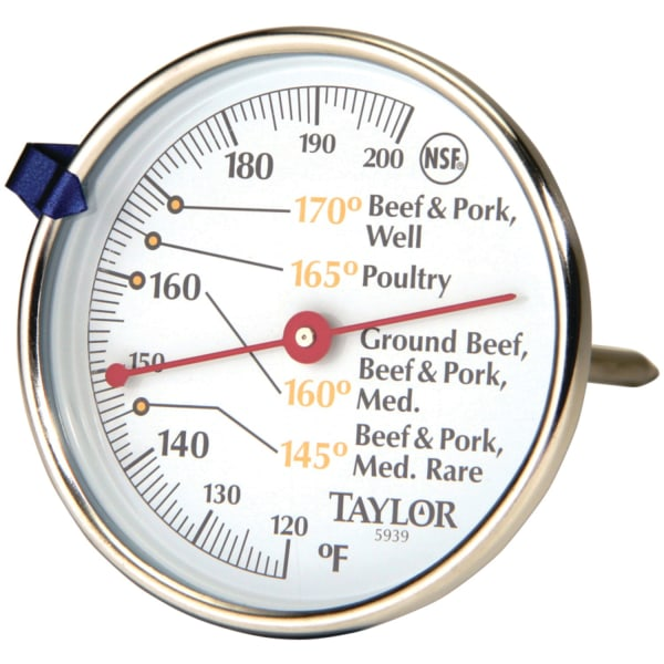Taylor 5939N Meat Dial Thermometer - 120F (48.9C) to 200F (93.3C) - Easy-to-read Measurement - For Food - Stainless Steel