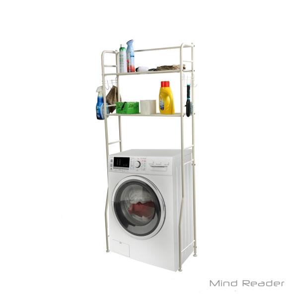 Mind Reader Laundry Stainless-Steel Utility Washing Machine Shelf, White