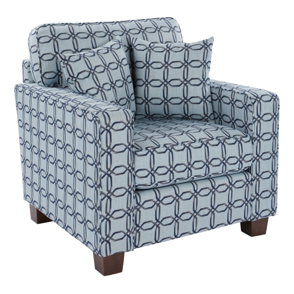 Office Star Starling Accent Chair With 2 Pillows, Usher Charcoal/Coffee