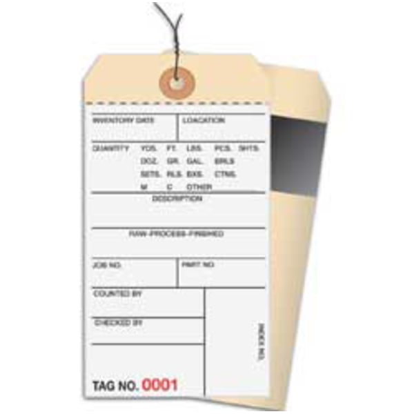 Prewired Manila Inventory Tags, 2-Part Carbon Style, 2500-2999, Box Of 500