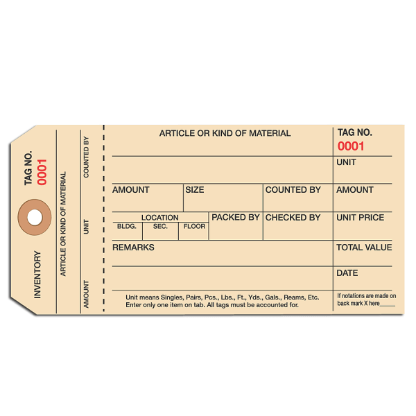 Manila Inventory Tags, 1-Part Stub Style, 0-999, Box Of 1,000