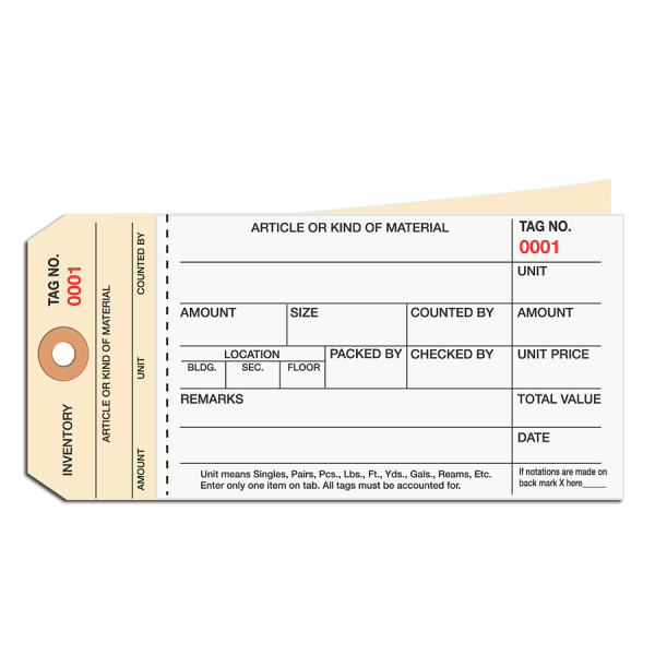 Manila Inventory Tags, 2-Part Carbonless Stub Style, 3000-3499, Box Of 500