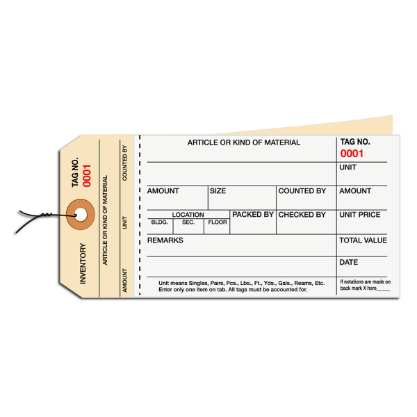 Prewired Manila Inventory Tags, 2-Part Carbonless Stub Style, 0-499, Box Of 500