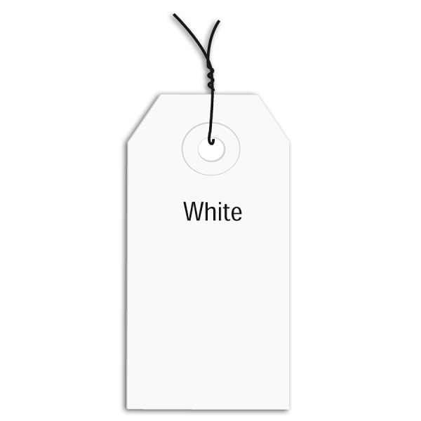 Office Depot Brand Prewired Color Shipping Tags, #1, 2 3/4  x 1 3/8 , White, Box Of 1,000
