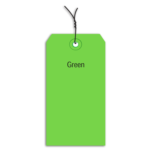 Office Depot Brand Prewired Color Shipping Tags, #2, 3 1/4  x 1 5/8 , Green, Box Of 1,000
