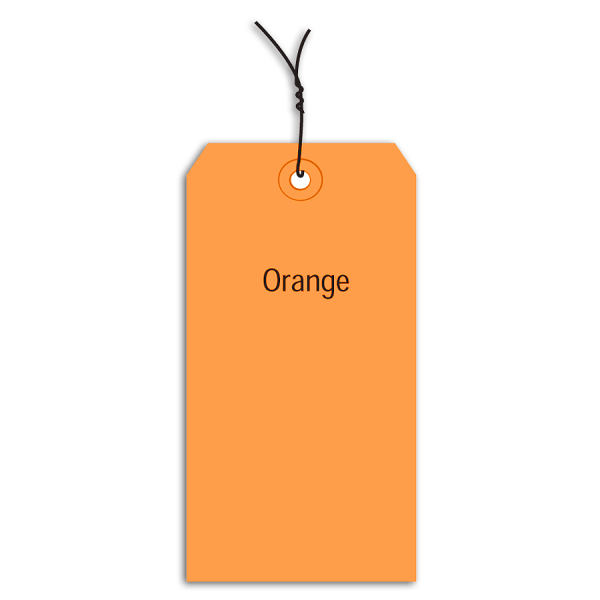 Office Depot Brand Prewired Color Shipping Tags, #2, 3 1/4  x 1 5/8 , Orange, Box Of 1,000