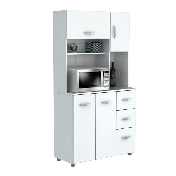 Inval Storage Cabinet With Microwave Stand, 6 Shelves, 66 H x 35 W x 15 D, Laricina White