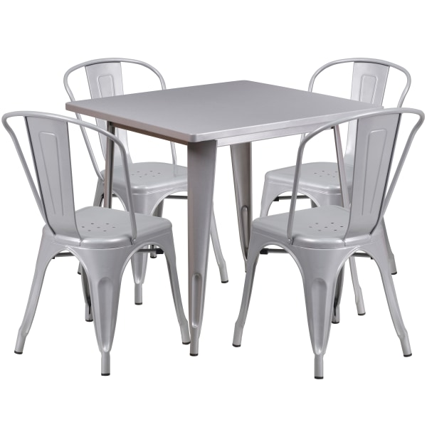 Flash Furniture Commercial-Grade Square Metal Table Set With 4 Stack Chairs, 29-1/2 H x 31-1/2 W x 31-1/2 D, Silver