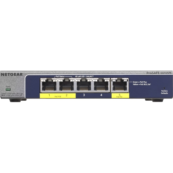 NETGEAR 5-Port Gigabit Smart Managed Plus PoE Switch, 19W, GS105PE - 5 Ports - Manageable - 2 Layer Supported - PoE Ports - Desktop - Lifetime Limited