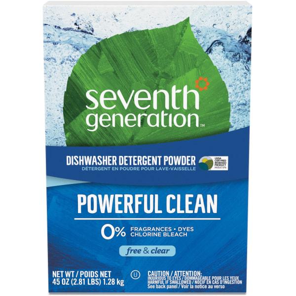 Seventh Generation Dishwasher Detergent - Powder - 45 oz (2.81 lb) - Natural Scent - 12 / Carton - Clear