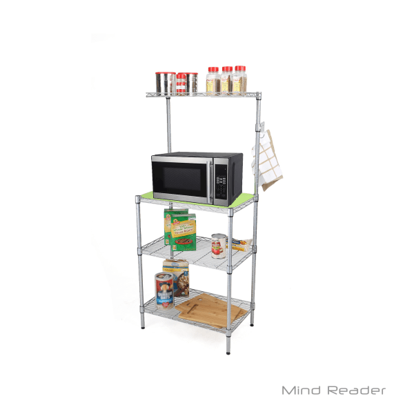 Mind Reader 3-Tier Stainless-Steel Microwave Shelf Counter Unit With Hooks, Silver
