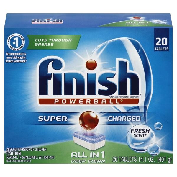 Finish Powerball Dishwasher Detergent Tabs, Fresh Scent, Box Of 20